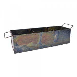 Kasse med 3 rum og håndtag, irret kobber finish. Materiale: Jern Farve: Gl. messing finish