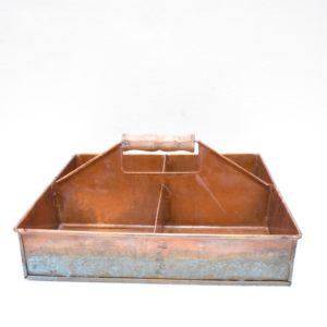 Metalbakke med 4 rum, irret kobber finish