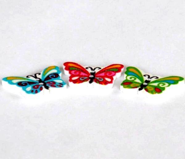 17 x 24 mm træknap som en sommerfugl blå